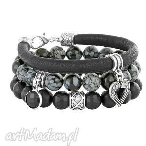 carbon 2 - black & grey - rzemień, obsydian zestaw, onyks, cerce