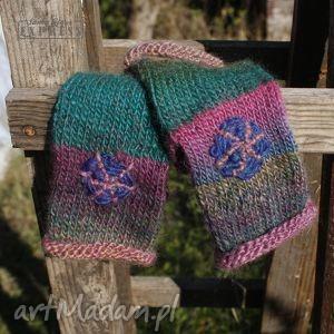 hand made rękawiczki mitenki z haftem