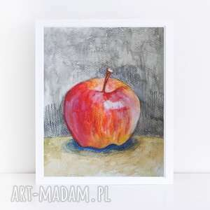 jabłko-akwarela formatu 18/24 cm, akwarela, papier, jabłko, kredki
