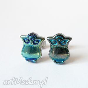 niebieskie sowy - kolczyki sztyfty / hematyt, benzynka, niebieski, sowa