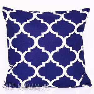 poduszka fresh navy blue 50x50cm od majunto, koniczyna, koniczyna marokńska