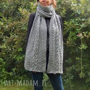 hand-made szaliki szary zimowy szal