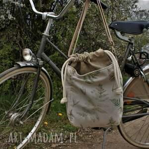 na ramię miniks plecionka paproć, torebka, torba, lato, worek, len
