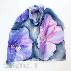 ręczne wykonanie szaliki jedwabny malowany szal - kwiaty w fioletach