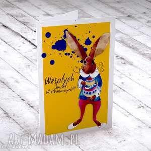 wielkanocna karteczka z zającem, kartki, świąteczne, życzenia, wielkanocne