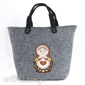 Torebka filcowa ,, matrioszka w kolorach brązu , torba, torebka, matrioszka, filc