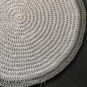 dywan ze sznurka bawełnianego biały z szarym 120 cm, dywan, chodnik, sznurek