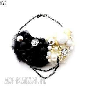 black white naszyjnik handmade - naszyjnik, czarny, biały, czarnobiały, białoczarny