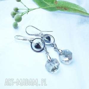 srebrne wiszące kolczyki z serduszkami i kryształkami, srebro, 925