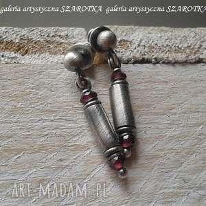 Malinowo kolczyki z granatu i srebra szarotka granaty, srebro