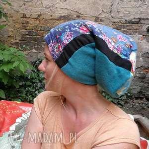 Czapka damska patchworkowa kolorowa ciepła czapki ruda klara