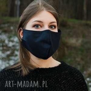 maseczki maska medyczna granatowa bawełna na gumkach