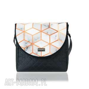 pod choinkę prezent, torebka puro 2056 marbled, pojemna, mała, nacodzień na ramię
