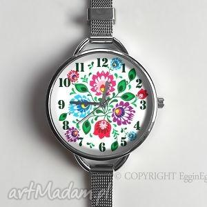 ręczne wykonanie zegarki folkowe kwiaty - zegarek z dużą tarczką