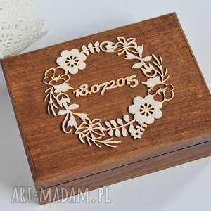 ślub pudełko na obrączki - wianek, drewno, koronka, pudełko