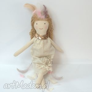 lisa w pióropuszu, lalka szmaciana, lalka, bawełna, pióropusz, pióra, len