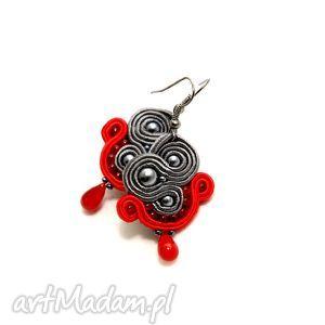szaro-czerwone kolczyki sutasz, soutache, sznurek, eleganckie, kolorowe, handmade