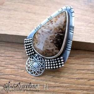 Wisior z agatem palmowym, oksydowane srebro, srebrna biżuteria, masywny wisior, agat