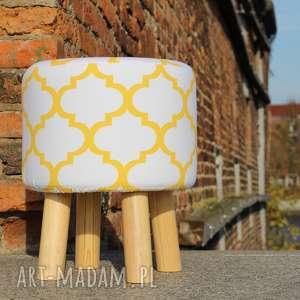 Pufa Koniczyna Maroco Biała - Żółta 36 cm, puf, stołek, taboret, hocker, siedzisko,