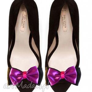 ozdoby do butów purple bows - butów, broszki, kokardy, fukscja, buty