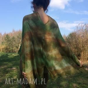 handmade poncho lniane ponczo w kolorach natury