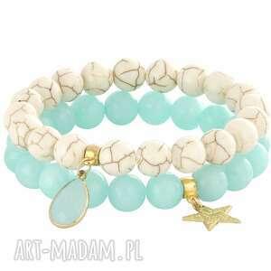 mint ivory , howlit, jadeit, gwiazdka biżuteria