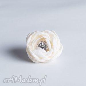 flowering - kwiatowy pierścionek ecru z cyrkonią fr08, pierścionek