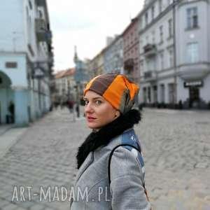 czapka dzianinowa damska męska unisex, czapka, bawełna, etno, patchwork, dzianina