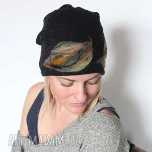 czapka handmade wełniana z kwiatem - wełna, czapka, filc, ciepła, zima