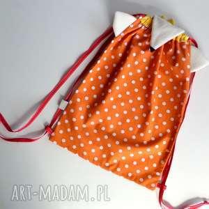 dla dziecka worek-plecak króliskowy z haftem, worko plecak, do przedszkola, żłobka