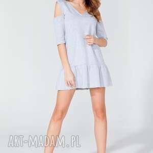 Sukienka mini z odkrytymi ramionami T111 kolor jasnoszary - TESSITA, sukienka,