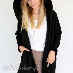 s - m płaszcz z kapturem czarny - bawełna, dzianina, wiosna, eko