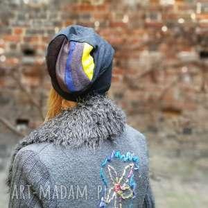 czapka damska szara na małą głowę - czapka, dzianina, etno, sport, rower