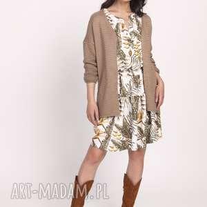 sukienki sukienka z falbanką, suk174 liscie ecru