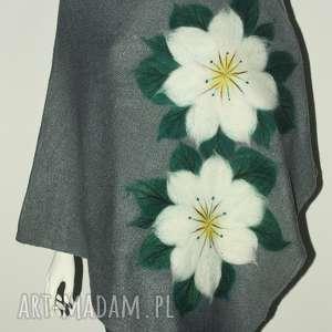 ponczo filcowane damskie, filcowanie, peleryna, narzutka, kwiaty, prezent