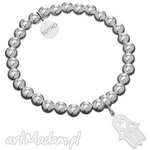 srebrna bransoletka koraliki srebro 925 hamsa ręka fatimy, fashion