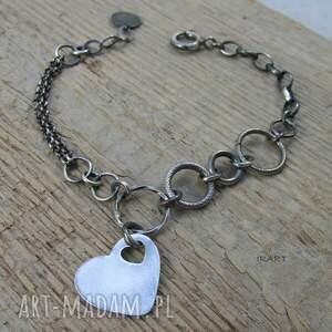 Bransoletka z sercem, srebro, serce, bransoletka