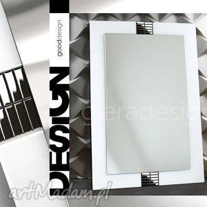 Lustro w białej szklanej ramie zdobione srebrną szklaną mozaiką, lustro, lusterko