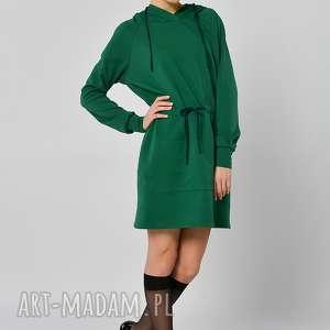 piżmaczek - zielona długa bluza z kapturem, bluza, zielona, długa, kaptur