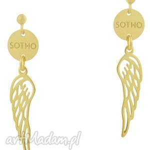 długie modowe złote kolczyki wiszące skrzydła sotho