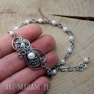 hand-made bransoletka z perłami, perły, wire wrapping, stal chirurgiczna