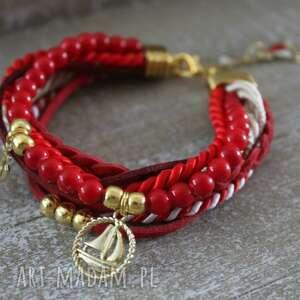 marynarska czerwona bransoletka, żaglówka, kotwica, czerwona, wakacje