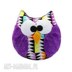 Prezent Sowa zabawka, model Coco, wzór MOZAIKA, fioletowa, sowa, sówka, mozaika
