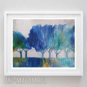 niebieskie drzewa - akwarela formatu a4, drzewa, papier, abstrakcja, kredki