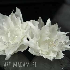 jedwabne kwiaty 2, swarovski, preciosa, jedwab, ślub, kryształ, kwiat