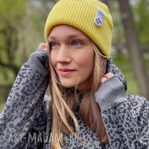czapka wywijana dwustronna logo kolorowe bananowa, czapka, jesienna