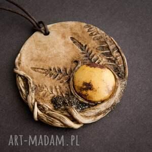 sirius92 wisior medalion z ceramiką, boho, wisior, ceramika, paproć