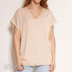 lanti urban fashion wiskozowy t-shirt w serek - blu151 beż, bluzka na lato