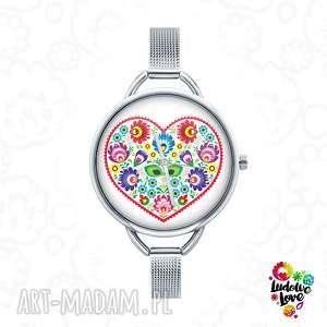 ludowelove zegarek z grafiką ludowe serce, miłość, walentynki, folk, ludowy, etniczny