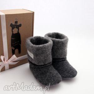 handmade buciki bambosze / hand made wełna ciemny szary